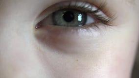 Tiro macro del primer del centelleo del ojo de la niña 4K, UHD, ultra resolución de HD almacen de video