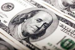 Retrato del billete de dólar de Benjamin Franklin 100 Imágenes de archivo libres de regalías