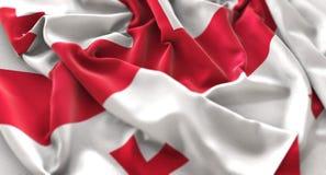 Tiro macro do close-up de Georgia Flag Ruffled Beautifully Waving Imagem de Stock Royalty Free