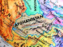 Tiro macro do foco de Afeganistão no mapa do globo para blogues do curso, meios sociais, bandeiras do Web site e fundos Imagens de Stock Royalty Free