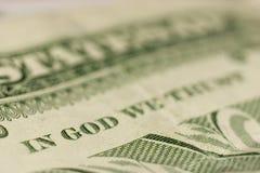 Tiro macro no DEUS que NÓS CONFIAMOS, foco fino no DEUS Foto de Stock Royalty Free