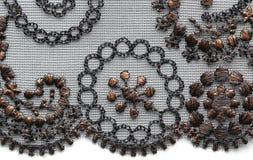 Tiro material de la macro de la textura de Brown y del cordón negro de la flor Imágenes de archivo libres de regalías