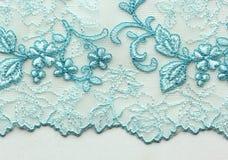 Tiro material de la macro de la textura del cordón blanco y azul de la flor Fotografía de archivo