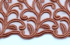 Tiro material de la macro de la textura del cordón de las flores de Brown Fotografía de archivo