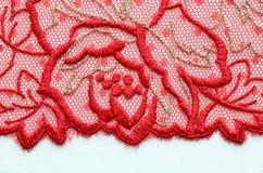 Tiro material de la macro de la textura del cordón rojo de la flor Foto de archivo