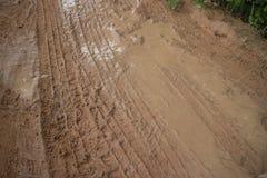 Tiro medio horizontal, camino fangoso de la selva con la vegetación visible en la esquina Fotografía de archivo