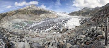 Tiro panorámico del glaciar de Rhone Foto de archivo libre de regalías