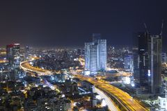 Tiro panorâmico do telefone Aviv And Ramat Gan Skyline Fotos de Stock Royalty Free