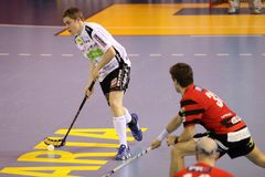 Tiro Pavel Machala - floorball Imagem de Stock Royalty Free