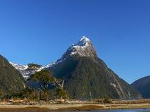 Tiro próximo do pico da mitra em Milford Sound, nz fotos de stock