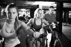 Tiro preto e branco da classe do Gym que usa instrutores transversais fotografia de stock