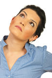 Tiro principal da mulher que olha acima Imagens de Stock Royalty Free