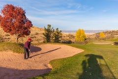 Tiro pronto da areia da batida do jogador de golfe Fotos de Stock