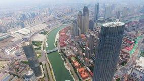 Tiro a?reo de los edificios modernos y del paisaje urbano urbano, Tianjin, China metrajes