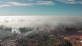 Tiro a?reo Volando en un d?a soleado, claro sobre las nubes volum?tricas de la tempestad de truenos de la textura En la parte inf almacen de metraje de vídeo