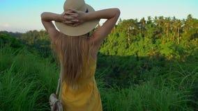 Tiro slowmotion super de uma jovem mulher em um vestido amarelo que anda durante o por do sol na caminhada ou no pintor do cume d video estoque
