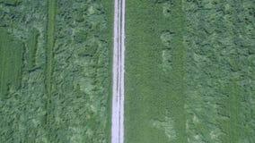Tiro superior aéreo que move-se ao longo de uma estrada secundária entre campos de grama filme