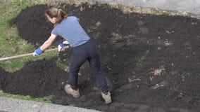 Tiro superior del trabajador que ara el suelo seco en el camino