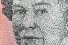 Tiro ultra macro de los ojos de la reina Elizabeth ii en australiano billete de banco de cinco dólares foto de archivo