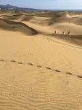 Tiro vertical de las dunas de Maspalomas - Gran Canaria foto de archivo