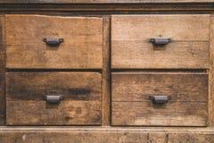 Tiroirs en bois antiques Photos libres de droits