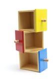 Tiroirs en bois miniatures Images stock