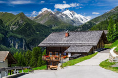 Tirol Alps landscape in Austria with Grossglockner mountain. Rural landscape in Tirol Alps with the highest mountain from Austria in background, Grossglockner ( Royalty Free Stock Photo