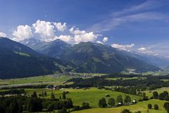Tirol landscape. Landscape with mountain farms and villages in the area of Thun, Tirol, Austria Stock Photo