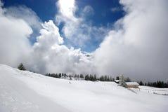 Tirol mountain panorama during sunny day. Austrian mountains panorama during great weather for snowboarding royalty free stock photos