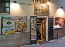 Tirol restaurant entrance. PALMA DE MALLORCA, BALEARIC ISLANDS, SPAIN - APRIL 7, 2016: Tirol restaurant entrance La Llotja street in Palma de Mallorca, Balearic Royalty Free Stock Photos