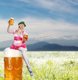 Tiroler or oktoberfest woman with beer Stock Images