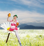 Tiroler or oktoberfest woman with beer Royalty Free Stock Photography