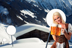 Tiroler oktoberfest woman with beer Stock Photo
