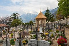 Panorama of main Graveyard, Cemetery and Chapel of the municipality village of Tirol. Tirolo, South Tyrol, Italy. Europe stock images