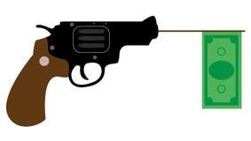 Tiros da arma com o dólar Imagens de Stock