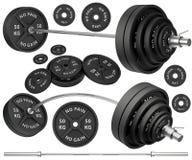 Tiros de barbells e de pesos de um metal Imagem de Stock