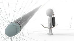 tiros do ser humano dos desenhos animados 3d ilustração do vetor