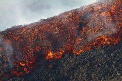 Tiroteo de la lava del detalle en el amanecer Foto de archivo