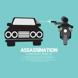 Tiroteo del asesinato de la motocicleta ilustración del vector