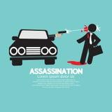 Tiroteo del asesinato del coche ilustración del vector