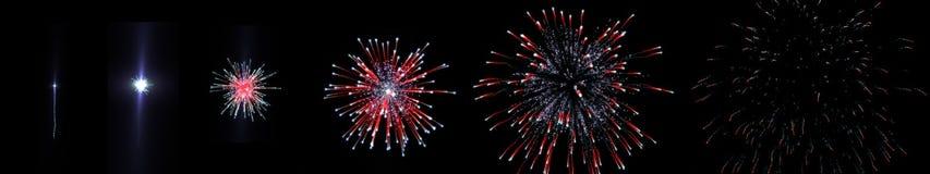Tiroteo del fuego artificial de la secuencia fotografía de archivo libre de regalías