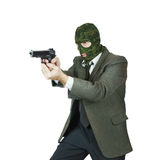 Tiroteo del gángster con una arma de mano Fotografía de archivo libre de regalías
