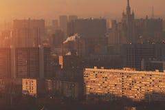 Tiroteo del primer del top de la ciudad del metropolitano de la mañana Fotografía de archivo