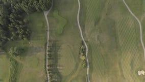 Tiroteo desde arriba del campo de golf de lujo grande Vista de los céspedes y de los árboles verdes Tiroteo desde arriba, visión  almacen de video