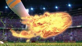Tiroteo en meta en la cámara lenta con el balón de fútbol ardiente ilustración del vector