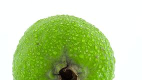 Tiroteo macro de una fruta entera del feijoa con descensos del agua Lentamente girando en la placa giratoria aislada en el blanco metrajes