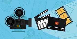 Tiroteo y vídeo del cine stock de ilustración