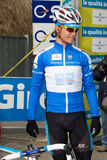 Tirreno Adriatico. Montecatini Terme, Pistoia - 2010 March 11: Cyclist Linus Gerdeman with blu shirt of the challenge leader before the race of the 2nd stage of royalty free stock images