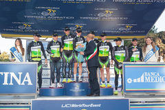 Tirreno Adriatico, first stage. DONORATICO, LIVORNO, ITALY - MARCH 07: Team GreenEDGE on the podium after winning the 1st Team Time Trial stage of 2012 Tirreno stock photo