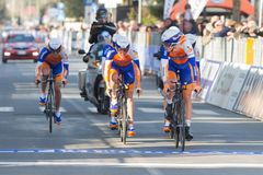 Tirreno Adriatico, first stage. DONORATICO, LIVORNO, ITALY - MARCH 07: Team Rabobank during the 1st Team Time Trial stage of 2012 Tirreno-Adriatico on March 07 stock images